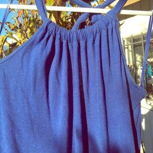 Blue cotton romper